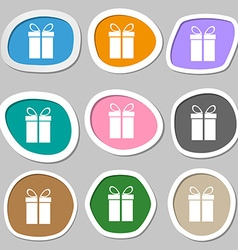 Gift box sign icon Present symbol Multicolored vector