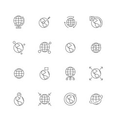 globe icon world wide map navigation points earth vector image
