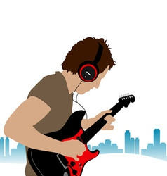 guitar man vector image
