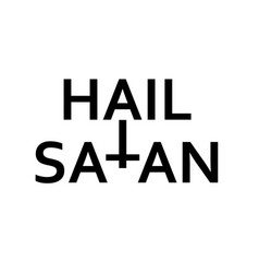 Hail satan- antichrist quote with inverted cross vector