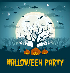 Halloween party poster with dead tree vector