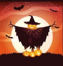 Halloween scarecrow design vector
