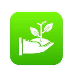 hand sprout icon green vector image