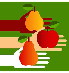 Hands with fruit vector image