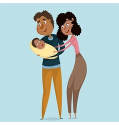happy afro american parents with baby vector image