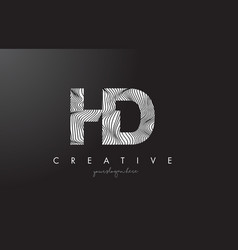Hd h d letter logo with zebra lines texture vector