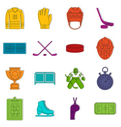 Hockey icons doodle set vector