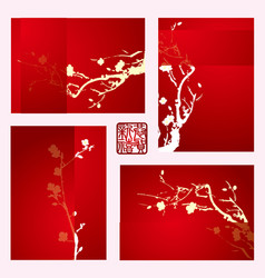 Holiday greeting cards with plum blossom vector