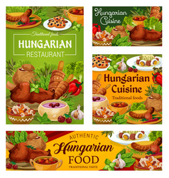 Hungary cuisine hungarian food dishes vector