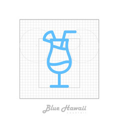Icon of cocktail with modular grid blue hawaii vector
