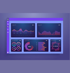 Infographic dashboard template with flat design vector