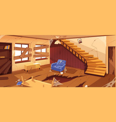 inside empty abandoned room in desolated house vector image