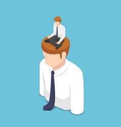 isometric businessman doing meditation in lotus vector image