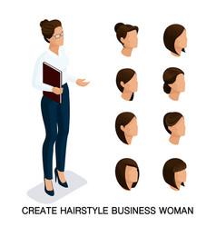 Isometric businessmen set head vector