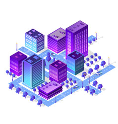 isometric city set violet colors building vector image