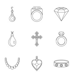 jewelry icon set outline style vector image