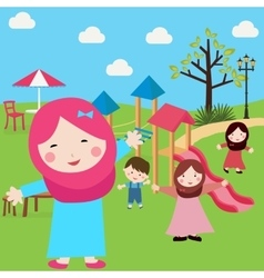 kids Islam girls and boys having fun in park vector image