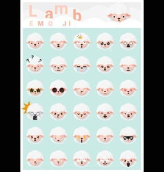 Lamb emoji icons vector