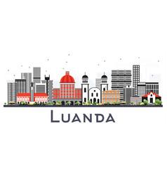 Luanda angola city skyline with gray buildings vector