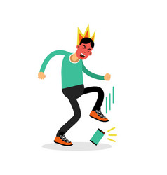 Man in a fury kicking his phone vector