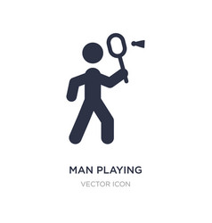 Man playing badminton icon on white background vector