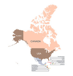 Map north america continent vector
