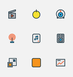 Media icons colored line set with presentation vector