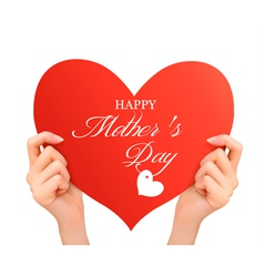 Mother day background Two hands holding red heart vector