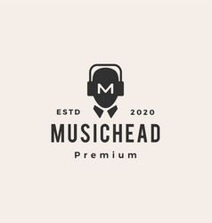 music man headphone hipster vintage logo icon vector image