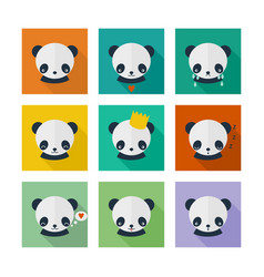 panda icons set in flat design vector image