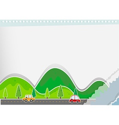 Paper design with hills and road vector image