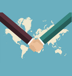 partnership handshake with world map background vector image