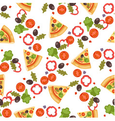 pizza seamless pattern piece vector image