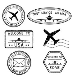 Postmarks and travel stamps vector