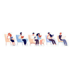 readers characters persons reading books sitting vector image