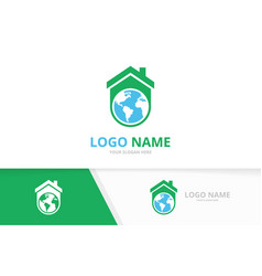 real estate and globe logo combination vector image