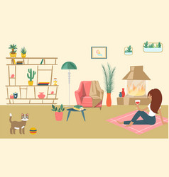 Relaxing living room with fireplace modern design vector