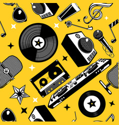 Retro music seamless pattern with vinyl disc and vector
