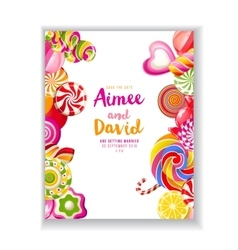 Save the date background with candies vector