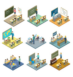 School education isometric 3d set vector