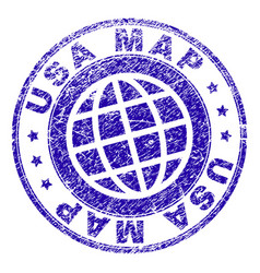 Scratched textured usa map stamp seal vector