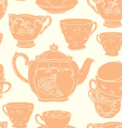 Seamless pattern with teapots and teacups vector