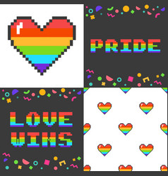 set of four 8 bit pixel art lgbt posters vector image