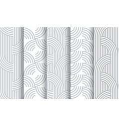 set of geometric light grey striped seamless vector image