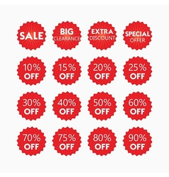 Shopping and retail SALE red tags and stickers set vector