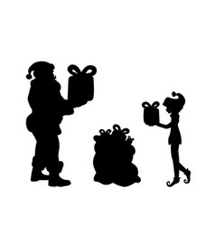 silhouette santa and elf put gifts in bag vector image