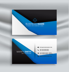 simple blue and black business card design vector image