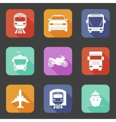 Simple flat transport icons set with long shadows vector image