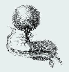 Simple landscape meadow aerial view tree vector