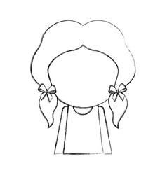 Sketch draw faceless little girl vector